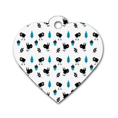Bird Beans Leaf Black Blue Dog Tag Heart (one Side) by Alisyart