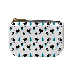 Bird Beans Leaf Black Blue Mini Coin Purses