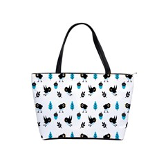 Bird Beans Leaf Black Blue Shoulder Handbags by Alisyart