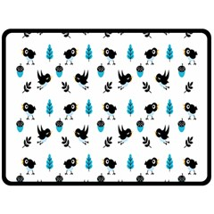 Bird Beans Leaf Black Blue Fleece Blanket (large)  by Alisyart