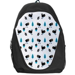 Bird Beans Leaf Black Blue Backpack Bag by Alisyart