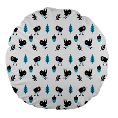Bird Beans Leaf Black Blue Large 18  Premium Round Cushions