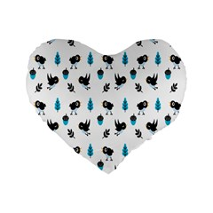 Bird Beans Leaf Black Blue Standard 16  Premium Heart Shape Cushions by Alisyart