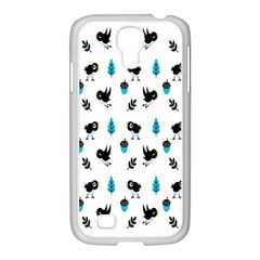 Bird Beans Leaf Black Blue Samsung Galaxy S4 I9500/ I9505 Case (white)