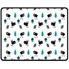 Bird Beans Leaf Black Blue Double Sided Fleece Blanket (medium)  by Alisyart