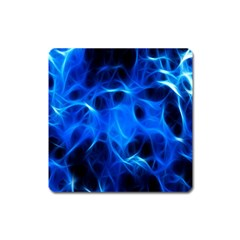 Blue Flame Light Black Square Magnet by Alisyart