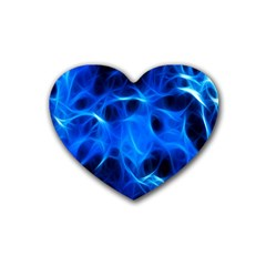 Blue Flame Light Black Rubber Coaster (heart)  by Alisyart