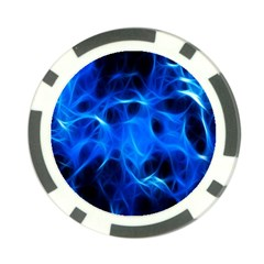 Blue Flame Light Black Poker Chip Card Guard by Alisyart