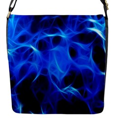 Blue Flame Light Black Flap Messenger Bag (s) by Alisyart