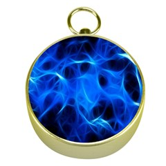 Blue Flame Light Black Gold Compasses by Alisyart