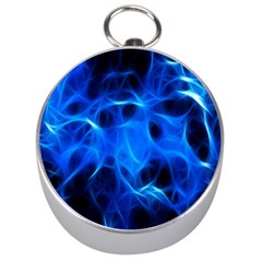 Blue Flame Light Black Silver Compasses by Alisyart