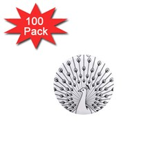 Bird Peacock Fan Animals 1  Mini Magnets (100 Pack)  by Alisyart