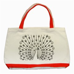 Bird Peacock Fan Animals Classic Tote Bag (red) by Alisyart