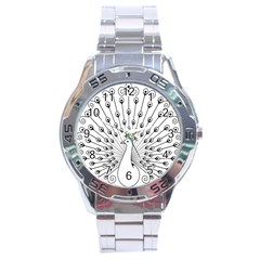 Bird Peacock Fan Animals Stainless Steel Analogue Watch by Alisyart
