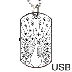 Bird Peacock Fan Animals Dog Tag Usb Flash (one Side) by Alisyart