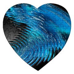 Waves Wave Water Blue Hole Black Jigsaw Puzzle (heart) by Alisyart