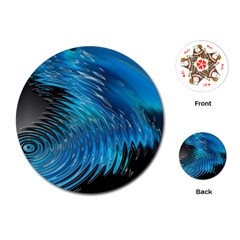 Waves Wave Water Blue Hole Black Playing Cards (round)