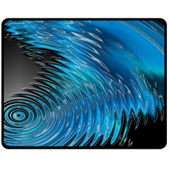 Waves Wave Water Blue Hole Black Fleece Blanket (medium)
