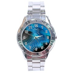 Waves Wave Water Blue Hole Black Stainless Steel Analogue Watch by Alisyart