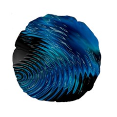 Waves Wave Water Blue Hole Black Standard 15  Premium Round Cushions by Alisyart