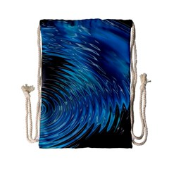 Waves Wave Water Blue Hole Black Drawstring Bag (small)