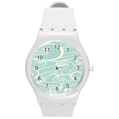 Blue Waves Round Plastic Sport Watch (m) by Alisyart