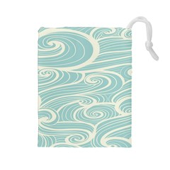 Blue Waves Drawstring Pouches (large)  by Alisyart