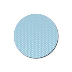 Circle Blue White Rubber Round Coaster (4 Pack)