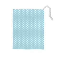 Circle Blue White Drawstring Pouches (large)  by Alisyart