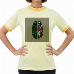 Emotional Rational Brain Women s Fitted Ringer T Shirts