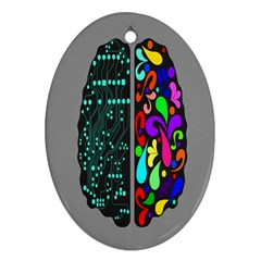 Emotional Rational Brain Oval Ornament (two Sides) by Alisyart