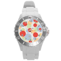 Contrast Analogous Colour Circle Red Green Orange Round Plastic Sport Watch (l) by Alisyart