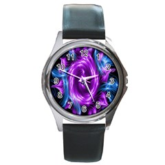 Colors Light Blue Purple Hole Space Galaxy Round Metal Watch by Alisyart