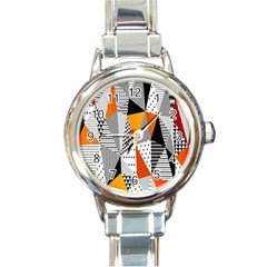 Contrast Hero Triangle Plaid Circle Wave Chevron Orange White Black Line Round Italian Charm Watch by Alisyart
