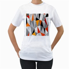 Contrast Hero Triangle Plaid Circle Wave Chevron Orange White Black Line Women s T Shirt (white) (two Sided)
