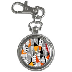 Contrast Hero Triangle Plaid Circle Wave Chevron Orange White Black Line Key Chain Watches by Alisyart