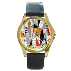 Contrast Hero Triangle Plaid Circle Wave Chevron Orange White Black Line Round Gold Metal Watch by Alisyart