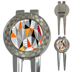 Contrast Hero Triangle Plaid Circle Wave Chevron Orange White Black Line 3 In 1 Golf Divots by Alisyart