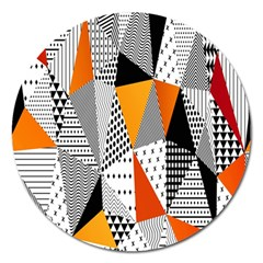 Contrast Hero Triangle Plaid Circle Wave Chevron Orange White Black Line Magnet 5  (round) by Alisyart