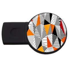 Contrast Hero Triangle Plaid Circle Wave Chevron Orange White Black Line Usb Flash Drive Round (2 Gb)
