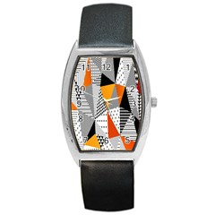 Contrast Hero Triangle Plaid Circle Wave Chevron Orange White Black Line Barrel Style Metal Watch by Alisyart