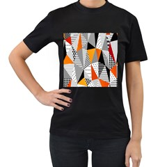 Contrast Hero Triangle Plaid Circle Wave Chevron Orange White Black Line Women s T Shirt (black) (two Sided)