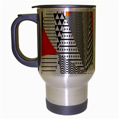 Contrast Hero Triangle Plaid Circle Wave Chevron Orange White Black Line Travel Mug (silver Gray)