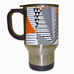 Contrast Hero Triangle Plaid Circle Wave Chevron Orange White Black Line Travel Mugs (white) by Alisyart