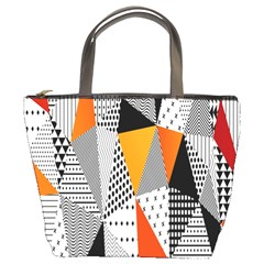 Contrast Hero Triangle Plaid Circle Wave Chevron Orange White Black Line Bucket Bags by Alisyart