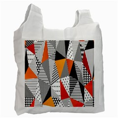 Contrast Hero Triangle Plaid Circle Wave Chevron Orange White Black Line Recycle Bag (one Side) by Alisyart
