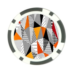 Contrast Hero Triangle Plaid Circle Wave Chevron Orange White Black Line Poker Chip Card Guard (10 Pack)