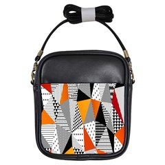 Contrast Hero Triangle Plaid Circle Wave Chevron Orange White Black Line Girls Sling Bags by Alisyart