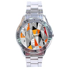 Contrast Hero Triangle Plaid Circle Wave Chevron Orange White Black Line Stainless Steel Analogue Watch
