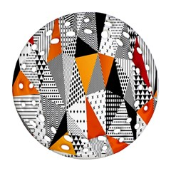 Contrast Hero Triangle Plaid Circle Wave Chevron Orange White Black Line Round Filigree Ornament (two Sides)